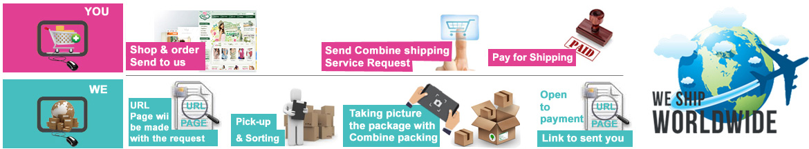 combine shipping service by PINKBOX
