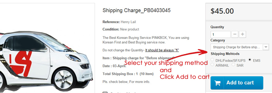 shipping charge pay before shipment by Pinkbox Korea Buying
